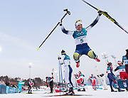 PYEONGCHANG-GUN, SOUTH KOREA - FEBRUARY 10: Charlotte Kalla of Sweden celebrates after winning gold during the Ladies Cross Country Skiing 7.5km + 7.5km Skiathlon on day one of the PyeongChang 2018 Winter Olympic Games at Alpensia Cross-Country Centre on February 10, 2018 in Pyeongchang-gun, South Korea. Photo by Nils Petter Nilsson/Ombrello     <br /> ***BETALBILD***