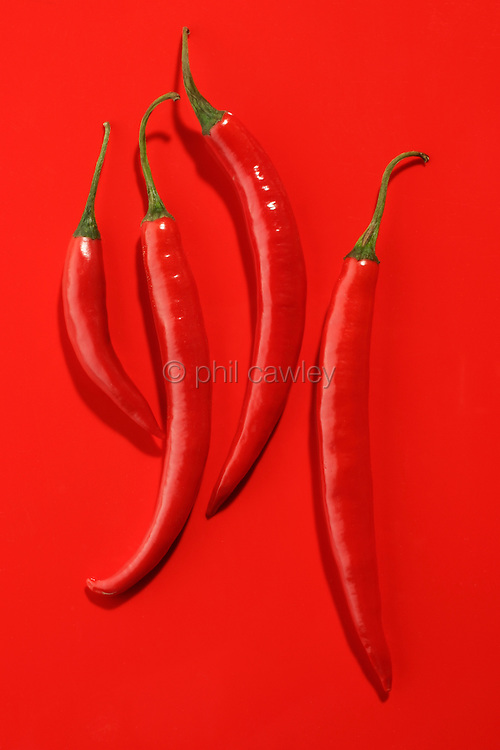 Red Chillies on a Red Background