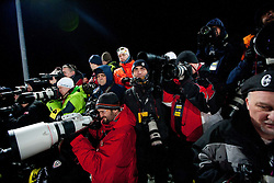"Photographers during 2nd Run of 4th Men's Slalom at FIS Alpine Ski World Cup  ""Vip Snow Queen Trophy"" 2012 on January 5, 2012 at Red Run course, Sljeme, Zagreb, Croatia.  (Photo By Vid Ponikvar / Sportida.com)"