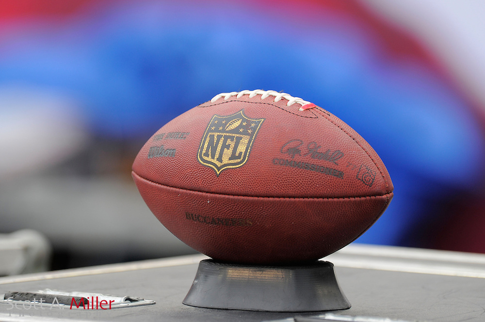 A football sits on the sideline during th Carolina Panthers game against the Tampa Bay Buccaneers  at Raymond James Stadium  on September 9, 2012 in Tampa, Florida.  The Bucs won 16-10..©2012 Scott A. Miller...