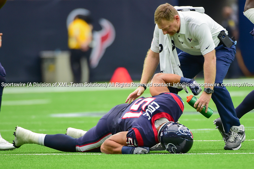 HOUSTON, TX - OCTOBER 15: Houston Texans linebacker Dylan Cole (51) punches the turf after injuring his knee at the end of a first half interception return during the football game between the Cleveland Browns and the Houston Texans on October 15, 2017 at NRG Stadium in Houston, Texas. (Photo by Ken Murray/Icon Sportswire)