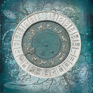 Zodiac sign clock face on a teal background
