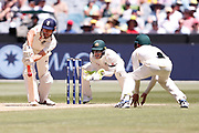 Alistair Cook blocks the ball during the Magellan fourth test match between Australia v England at  the Melbourne Cricket Ground, Melbourne, Australia on 26 December 2017. Photo by Mark  Witte.