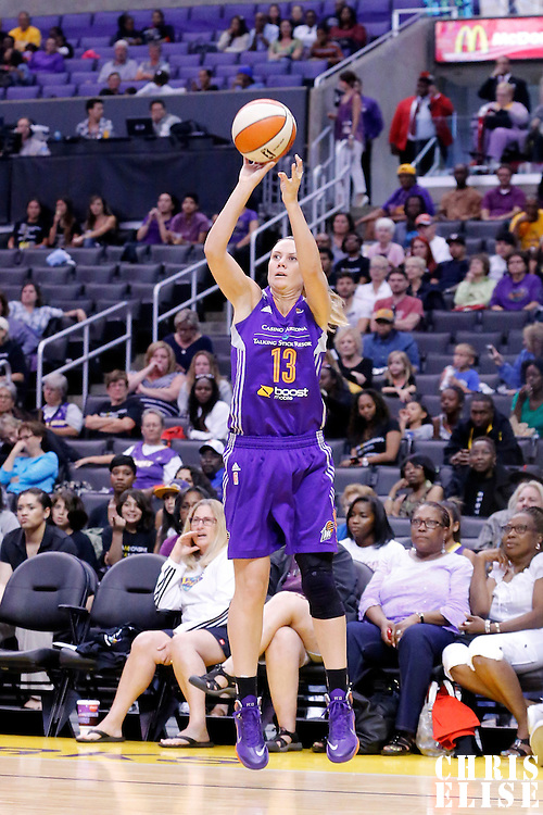 18 May 2014: Phoenix Mercury forward Penny Taylor (13) takes a jumpshot during the Phoenix Mercury 74-69 victory over the Los Angeles Sparks, at the Staples Center, Los Angeles, California, USA.