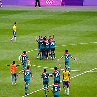 Mexico celebrates their soccer gold medal victory over Brazil at Wembley Stadium during the 2012 London Summer Olympics.