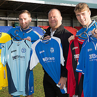 St Johnstone's Steven MacLean and David Wotherspoon pictured at McDiarmid Park with Alan McCartney from Total Teamwear Scotland after the club announced a three year kit deal with Joma...20.02.15<br /> Picture by Graeme Hart.<br /> Copyright Perthshire Picture Agency<br /> Tel: 01738 623350  Mobile: 07990 594431