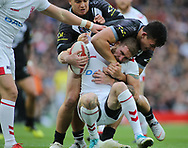 Sam Tomkins of England tackled by Joseph Manu (R) of New Zealand during the Autumn International Series match at Anfield, Liverpool<br /> Picture by Stephen Gaunt/Focus Images Ltd +447904 833202<br /> 04/11/2018