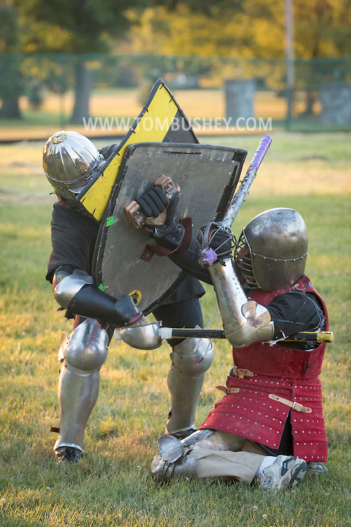 Middletown, New York- Members of the Middletown Fight Guild - Shire of Midland Vale, practice armored combat on July 5, 2016.
