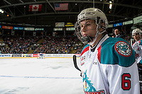 KELOWNA, CANADA - DECEMBER 30: Kaeden Korczak #6 of the Kelowna Rockets stands on the bench against the Victoria Royals on December 30, 2016 at Prospera Place in Kelowna, British Columbia, Canada.  (Photo by Marissa Baecker/Shoot the Breeze)  *** Local Caption ***
