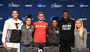 Trey Culver (Texas Tech), Sydney McLaughlin (Kentucky)Josh Kerr (New Mexico), Keturah Orji (Georgia, Grant Holloway (Florida) and Karissa Schweizer (Missouri) pose during a press conference prior to the NCAA Track and Field Championships in College Station, Texas on Thursday, March 8, 2018.