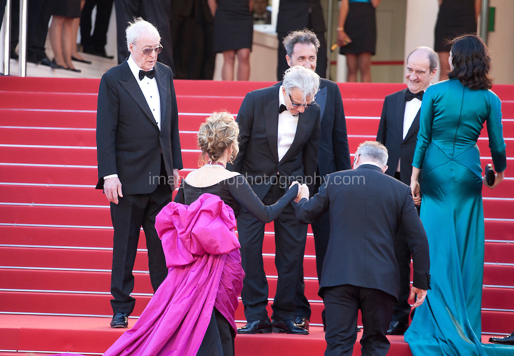 The cast of Youth on the red steps including Michael Caine and Jane Fonda, Harvey Keitel, Rachel Weisz and Paolo Sorrentino<br /> at the gala screening for the film Youth at the 68th Cannes Film Festival, Wednesday May 20th 2015, Cannes, France.