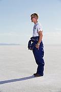 Image of a racer at the Bonneville Salt Flats, Utah, American Southwest