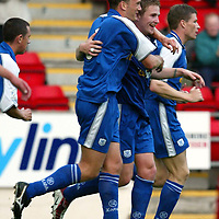 St Johnstone v Hamilton Accies 06.08.02<br />Ryan Stevenson celebrates his goal with Ian Maxwell<br /><br />Pic by Graeme Hart<br />Copyright Perthshire Picture Agency<br />Tel: 01738 623350 / 07990 594431