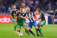 v.l. Christian Rubio Sivodedov (Schalke), Per Ciljan Skjelbred , Abdul Rahman Baba<br /> Berlin, 18.09.2016, Fussball Bundesliga, Hertha BSC - FC Schalke 04<br /> <br /> Norway only