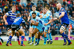 Tom O'Flaherty of Exeter Chiefs is marked by Darren Atkins of Bath Rugby - Mandatory by-line: Ryan Hiscott/JMP - 03/11/2018 - RUGBY - Sandy Park Stadium - Exeter, England - Exeter Chiefs v Bath Rugby - Premiership Rugby Cup