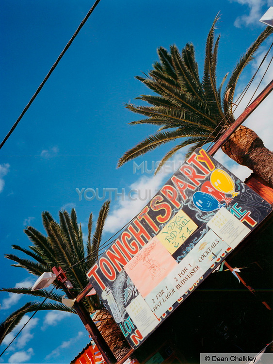 Sign advertising a party at a club/bar Ibiza 2001