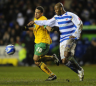 Reading - Saturday December 13th, 2008: Michael Duberry of Reading in action against Darel Russell of Norwich City during the Coca Cola Championship match at The Madjeski Stadium, Reading. (Pic by Alex Broadway/Focus Images)