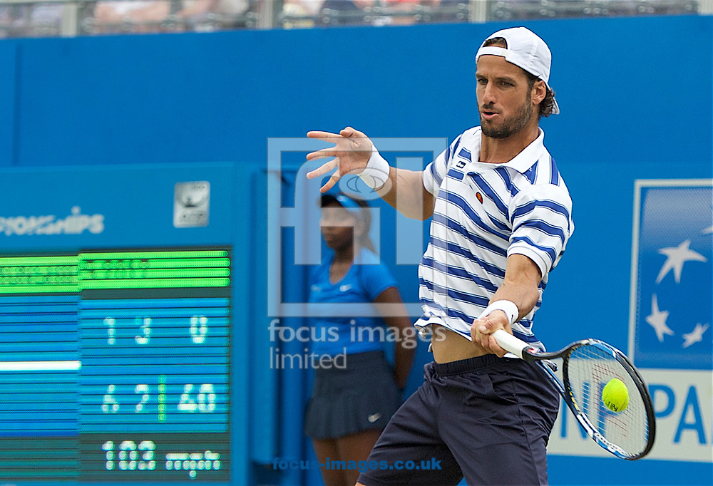 Feliciano Lopez (Spain) during his second round match against Jeremy Chardy (France) on day four of the Aegon Championships 2017 held at The Queen's Club, Kensington, UK.<br /> Picture by Alan Stanford/Focus Images Ltd +44 7915 056117<br /> 22/06/2017