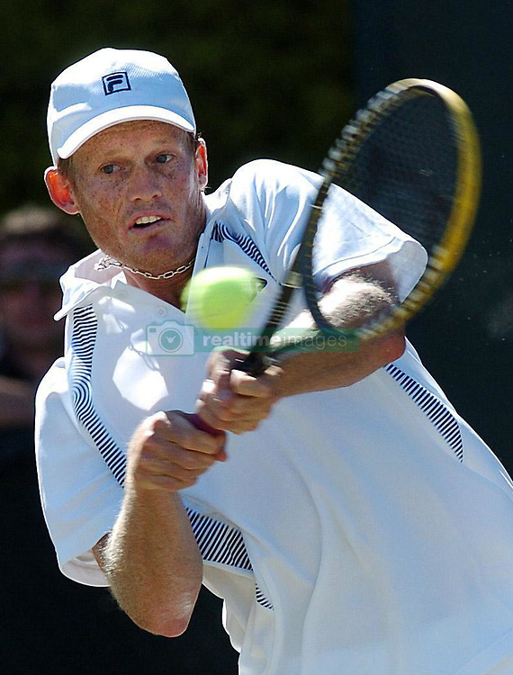 Wayne Ferreira of South Africa returns a shot in his first round match against Alberto Martin of Spain at the Nottingham Open tennis tournament.