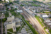 Nederland, Limburg, Gemeente Sittard-Geleen, 27-05-2013; centrum van Sittard met station en emplacement. Kantoren van DSM.<br /> Towncentre Sittard with railway station.<br /> luchtfoto (toeslag op standaardtarieven);<br /> aerial photo (additional fee required);<br /> copyright foto/photo Siebe Swart.