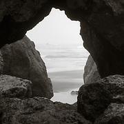 window through rocks - Ruby Beach - Olympic National Park, WA
