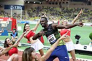 Usain Bolt of Jamaica celebrates after winning the men 100m during the 100m of the IAAF Diamond League, International Athletics Meeting, Herculis Monaco on July 17, 2017 at Louis II stadium in Monaco - Photo Manuel Blondeau / AOP Press / ProSportsImages / DPPI