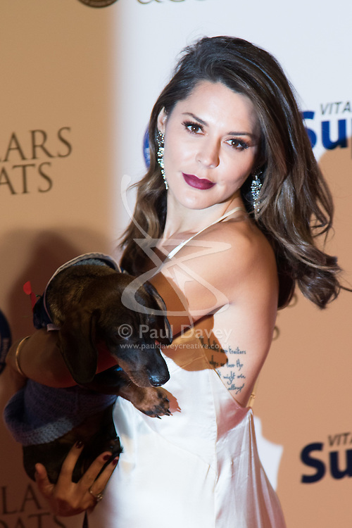 """Battersea, London, November 3rd 2016.  Celebrities and their dogs attend The Evolution at Battersea Park to attend The Battersea Dogs and Cats Home """"Collars and Coats Ball"""". PICTURED: Danielle Bux"""
