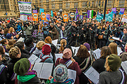 The Pankhurst Choir - #March4Women 2018, a march and rally in London to celebrate International Women's Day and 100 years since the first women in the UK gained the right to vote.  Organised by Care International the march stated at Old Palace Yard and ended in a rally in Trafalgar Square.