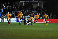 Newport county players celebrate the goal from Max Porter (2nd right) as he makes the score 1-1. Blue Square Bet Premier division, Newport County FC v Wrexham at Rodney Parade in Newport, South Wales on Friday 4th Jan 2013. pic by Andrew Orchard, Andrew Orchard sports photography,