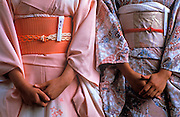 Image of two women wearing silk kimonos, Nara, Japan