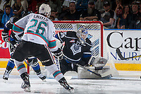 KELOWNA, CANADA - APRIL 17: Coleman Vollrath #35 of Victoria Royals makes a save on second period shot by Cole Linaker #26 of Kelowna Rockets on April 17, 2016 at Prospera Place in Kelowna, British Columbia, Canada.  (Photo by Marissa Baecker/Shoot the Breeze)  *** Local Caption *** Coleman Vollrath; Cole Linaker;