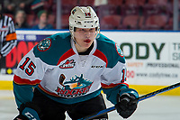 KELOWNA, CANADA - JANUARY 30:  Dallon Wilton #15 of the Kelowna Rockets skates to the bench after getting a puck in the face against the Seattle Thunderbirds on January 30, 2019 at Prospera Place in Kelowna, British Columbia, Canada.  (Photo by Marissa Baecker/Shoot the Breeze)