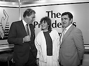 28/10/1985<br /> 10/28/1985<br /> 28 October 1985<br /> Launch of Gaisce The Presidents Award at Aras an Uachtarain. President Dr. Patrick Hillery launched the new national youth award scheme to be the nations highest award to Irish young people aged 15-25. Picture shows Dr. A.F.J. O'Reilly (left) Chairman of the Management Committee of the Award Scheme with Niamh Ni Bhaoil (Galway) and Mr. John Murphy, (right) Executive Director of the Award.