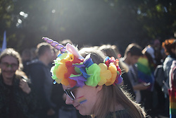 September 29, 2018 - Torun, Poland - A woman desguised as unicorn during Second LGBT Parade in Torun, Poland on September 29, 2018. (Credit Image: © Maciej Luczniewski/NurPhoto/ZUMA Press)