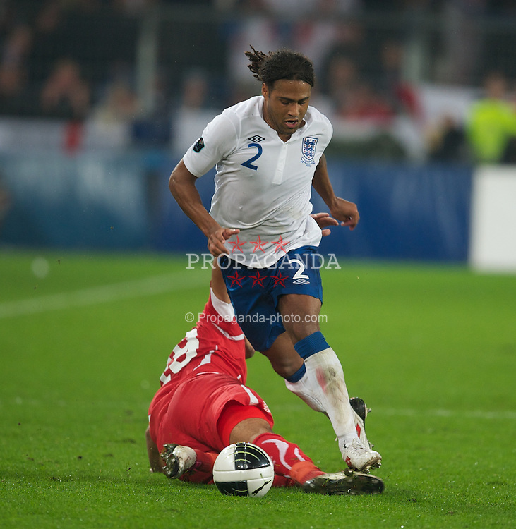 BASEL, SWITZERLAND - Tuesday, September 7, 2010: England's Glen Johnson in action against Switzerland during the UEFA Euro 2012 Qualifying Group G match at St. Jakob-Park. (Pic by David Rawcliffe/Propaganda)
