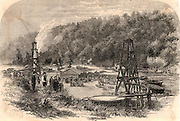 Oil springs at Tarr Farm, Oil Creek, Venango County, Pennsylvania, USA.  Engraving from 'The Illustrated London News' (London, 8 November 1862).  Fuel. Hydrocarbon.