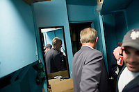 8 October, 2008. New York, NY. Harry Hurt III (left), columnist of Executive Pursuits for The New York Times,  exits the backstage before going on stage at the Comic Strip club in Manhattan, NY. On the right is comic Tom E., who just preceded Mr Hurt. Harry Hurt learned how to become a stand-comic training minutes before with the comic and m.c. D.F. Sweedler.<br /> <br /> &copy;2008 Gianni Cipriano for The New York Times<br /> cell. +1 646 465 2168 (USA)<br /> cell. +1 328 567 7923 (Italy)<br /> gianni@giannicipriano.com<br /> www.giannicipriano.com