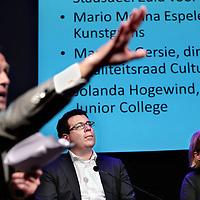 Nederland, Amsterdam , 1 april 2015.<br /> Het  Grote Cultuureducatiedebat in de Balie.<br /> Tien jaar Voucherbeheer, vraagsturing, cultuureducatieregelingen en het Amsterdams Fonds voor de Kunst. In het afgelopen decennium heeft het Amsterdamse cultuureducatiestelsel zich goed staande gehouden. Wat zijn de ervaringen van beleidsmakers, scholen en aanbieders? Wat gaat er goed en wat kan er beter?<br /> Op de foto: v.l.n.r. moderator Martijn deGreve, Sebastiaan Capel(voorzitter dagelijks bestuur Stadsdeel Zuid voor D'66) en Jolanda Hogewind, directeur Calvijn en Junior College.<br /> Foto:Jean-Pierre Jans