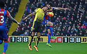 Mile Jedinak and Troy Deeney battle for the ball during the Barclays Premier League match between Crystal Palace and Watford at Selhurst Park, London, England on 13 February 2016. Photo by Michael Hulf.