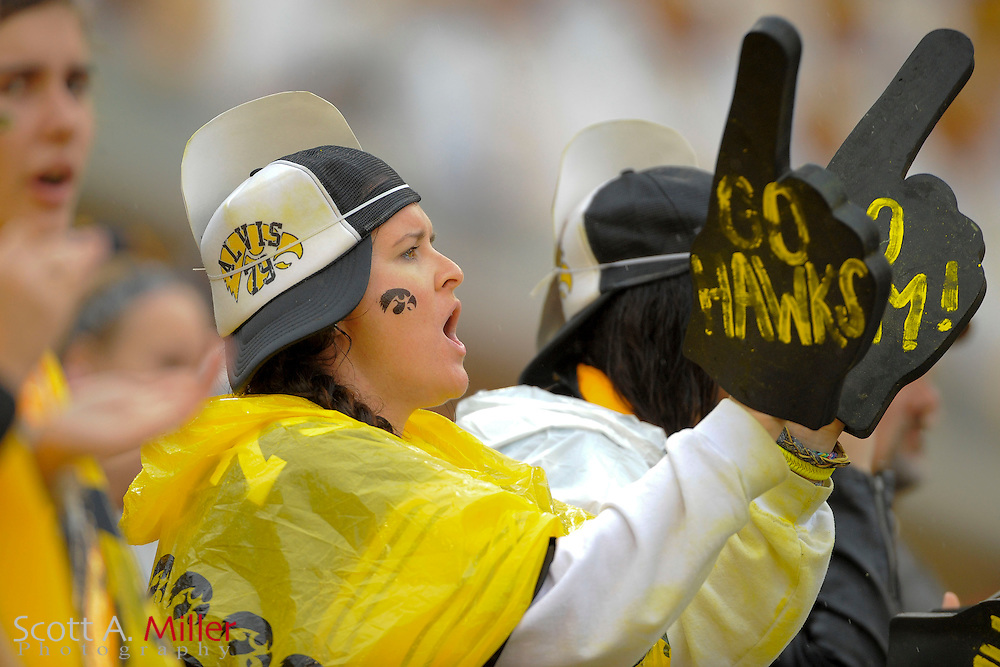 An Iowa Hawkeyes fan during the LSU Tigers 21-14 win over the Hawkeyes in the 2014 Outback Bowl at Raymond James Stadium on January 1, 2014 in Tampa, Florida.                                <br /> <br /> &copy;2014 Scott A. Miller