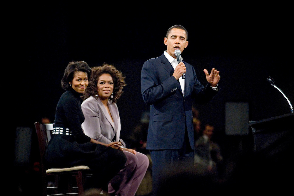 Senator Barack Obama  with his wife Michelle (far left) and Oprah Winfrey, in Des Moines, Iowa.....Photo by Chris Maluszynski /MOMENT