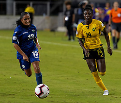 October 12, 2018 - Edinburgh, Scotland, United Kingdom - Edinburg, NC - OCTOBER 11: 2018.L-R Zallin Rodriguez of Cuba tussle with Deneisha Blackwood of Jamaica during CONCACAF Women's Championship Group B match between Cuba against Jamaica at H-E-BPark Stadium, Edinburg,  on October 11, 2018  (Credit Image: © Action Foto Sport/NurPhoto via ZUMA Press)