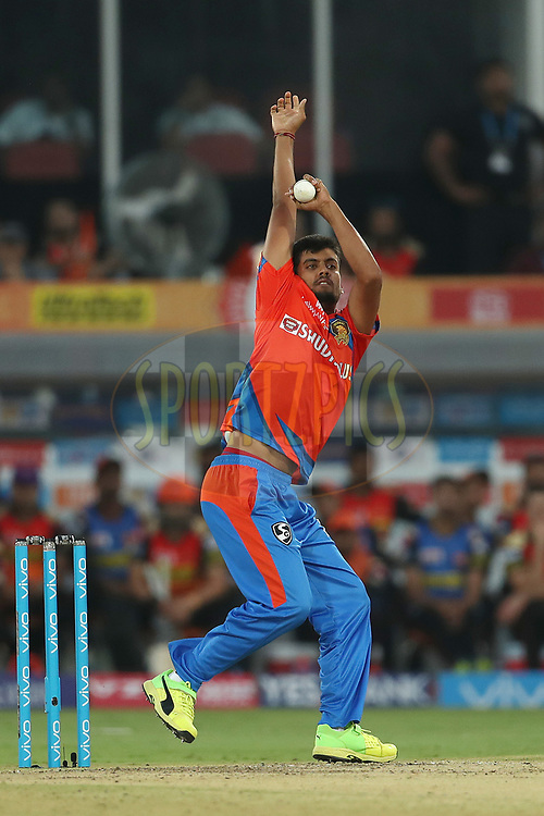 Shivil Kaushik of the Gujarat Lions during match 6 of the Vivo 2017 Indian Premier League between the Sunrisers Hyderabad and the Gujarat Lions held at the Rajiv Gandhi International Cricket Stadium in Hyderabad, India on the 9th April 2017<br /> <br /> Photo by Ron Gaunt - IPL - Sportzpics
