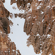 Jim Ryan dropping into the Horseshoe Couloir in the JHMR sidecountry.