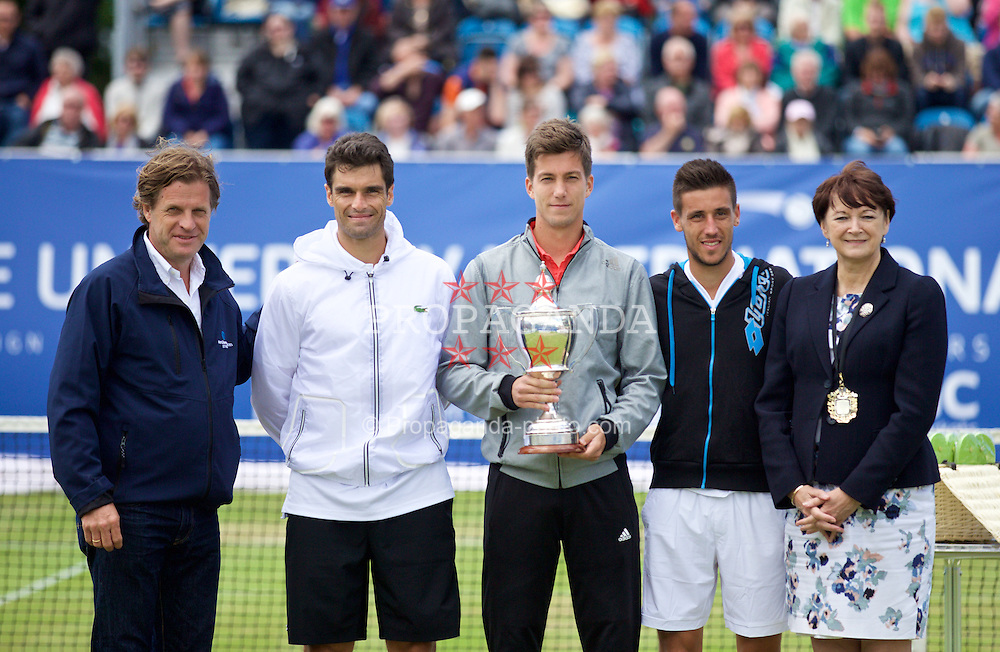 LIVERPOOL, ENGLAND - Sunday, June 21, 2015: Men's 2015 Champion Aljaz Bedene (GBR) with the Boodles Trophy alongside runners up Pablo Andujar (ESP) [L] and Damir Dzumhur (BIH) [R] also Tournament Director Anders Borg and Liverpool's Deputy Lord Mayor Cllr Roz Gladden during Day 4 of the Liverpool Hope University International Tennis Tournament at Liverpool Cricket Club. (Pic by David Rawcliffe/Propaganda)