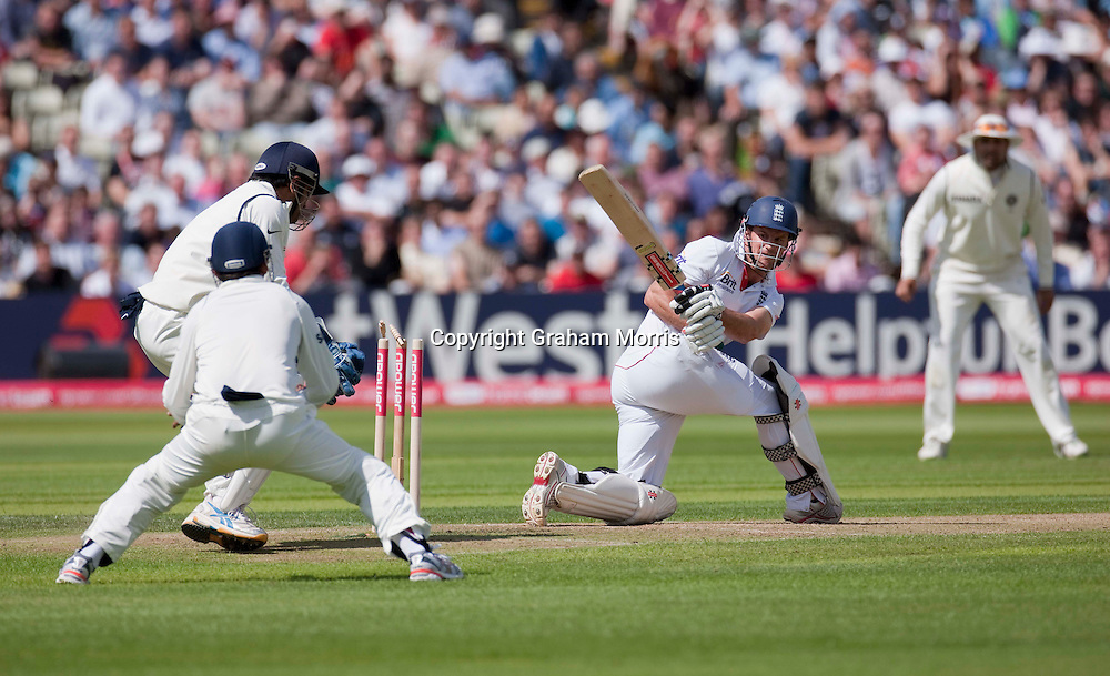 Andrew Strauss is bowled by Amit Mishra for 87 during the third npower Test Match between England and India at Edgbaston, Birmingham.  Photo: Graham Morris (Tel: +44(0)20 8969 4192 Email: sales@cricketpix.com) 11/08/11