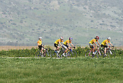 Israel, Hachula valley, a group of 5 cyclists