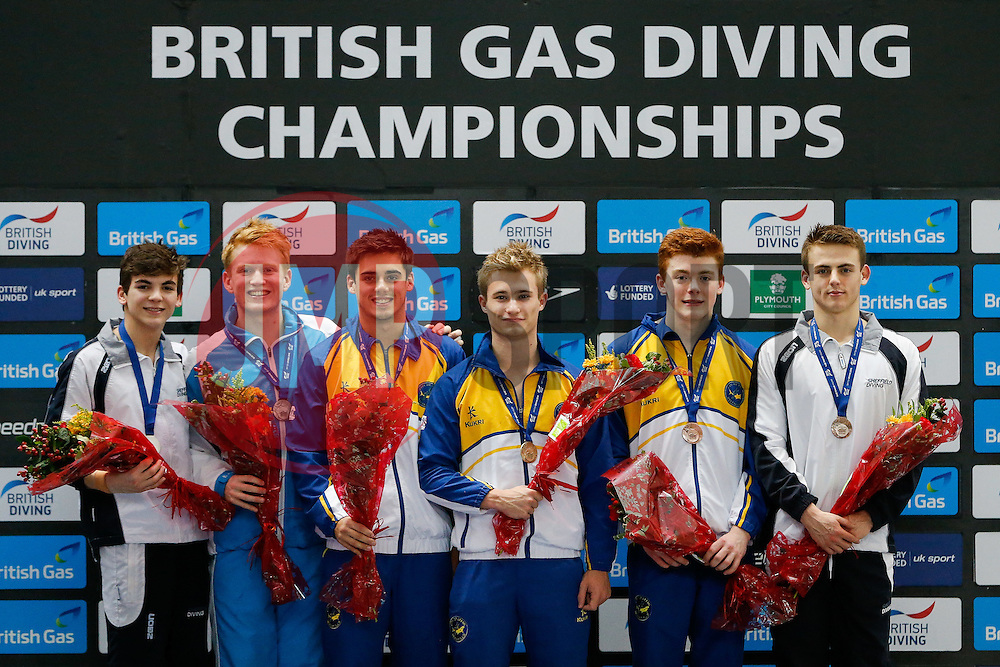 Mens 3m Synchro Springboard medallists. L-R 2nd, Ross Haslam of City of Sheffield Dive Club and James Heatly of Edinburgh Dive Club, Winners Chris Mears and Jack Laugher of City of Leeds Diving Club and 3rd placed Sam Thornton of City of Leeds Diving Club and Jack Haslam of Sheffield Diving Club - Photo mandatory by-line: Rogan Thomson/JMP - 07966 386802 - 20/02/2015 - SPORT - DIVING - Plymouth Life Centre, England - Day 1 - British Gas Diving Championships 2015.
