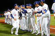 NEW TAIPEI CITY, TAIWAN - NOVEMBER 15:  Jen-Ho Tseng #17 of Team Chinese Taipei is greeted by teammates during the opening ceremony before Game 2 of the 2013 World Baseball Classic Qualifier against Team New Zealand at Xinzhuang Stadium in New Taipei City, Taiwan on Thursday, November 15, 2012. Photo by Yuki Taguchi/WBCI/MLB Photos