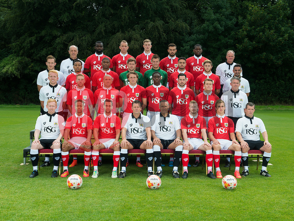 Row Four: Phil Tart (Assistant Sports Therapist), Karleigh Osborne, Aaron Wilbraham, Aden Flint, Marlon Pack, Jay Emmanuel-Thomas, David Coles (Goalkeeping Coach).<br /> Row Three: Rhys Carr (Head of Sport Science &amp; Strength and Conditioning Coach), Korey Smith, Mark Little, Frank Fielding, David Richards, Derrick Williams, Wes Burns, Scott Murray (Kitman).<br /> Row Two: Sam Stanton (Head of First Team Analysis), Scott Wagstaff, Adam El-Abd, Luke Ayling, Jordan Wynter, Greg Cunningham, Luke Freeman, Steve Allen (Head Physiotherapist).<br /> Row One: Sean Gilhespy (Analyst), Bobby Reid, Sam Baldock, Steve Cotterill (Manager), John Pemberton (Assistant Manager), Wade Elliott, Joe Bryan, Colin Clements (Sports Therapist). - Photo mandatory by-line: Joe Meredith/JMP - Mobile: 07966 386802 05/08/2014 - SPORT - FOOTBALL - Bristol - Ashton Gate - Press Day